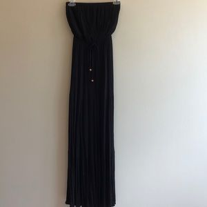 Strapless Black Boho Gauze Dress